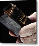 Man Hands Holding Old Bible Metal Print