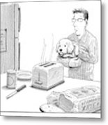 Man, Holding Dog, Speaks To Dog As Both Watch Metal Print by Harry Bliss