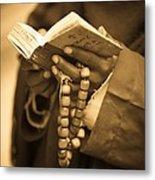 Man Holding Prayer Book Ethiopia Metal Print