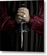 Man In Baroque Outfits Holding A Silver Dagger Metal Print