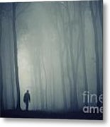 Man In Dark Mysterious Forest With Fog Metal Print