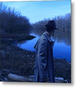 Man In Fedora By River Metal Print