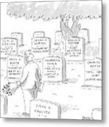 Man In Graveyard Looks At Tombstones Metal Print