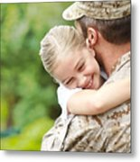 Man In Military Uniform Carrying A Little Girl Metal Print
