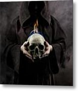 Man In The Hooded Cloak Holding Burning Human Skull In His Hand Metal Print