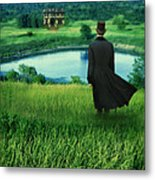Man In Top Hat On A Hill Metal Print