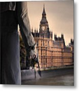 Man In Trenchcoat With A Gun In London Metal Print