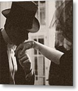 Man Kissing A Womans Hand Metal Print by Beverly Brown
