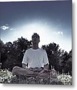 Man Meditating In The Nature During Sunrise Metal Print