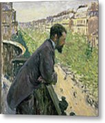 Man On A Balcony Metal Print by Gustave Caillebotte