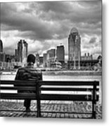 Man On A Bench Metal Print by Mel Steinhauer