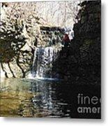 Man On A Waterfall Ledge Metal Print