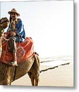 Man On Camel On Beach, Taghazout Metal Print