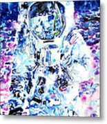 Man On The Moon - Watercolor Portrait Metal Print