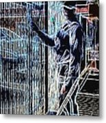 Man Painting Fence / Crayola Effect Metal Print