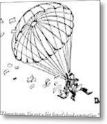 Man Parachuting While Working On His Laptop Metal Print