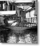 Man Plying A Small Boat Laden With Vegetables In The Dal Lake Metal Print
