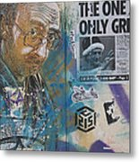 Man Portrait And Collage By C215 Metal Print