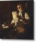 Man Reading By Candlelight Metal Print