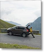 Man Rests On Trunk Of Car On Mountain Metal Print