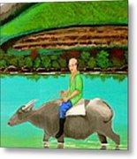 Man Riding A Carabao Metal Print