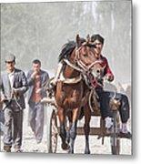 Man Riding A Carriage At Kashgar Sunday Market China Metal Print
