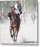 Man Riding A Horse At Kashgar Sunday Market China Metal Print