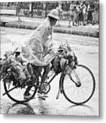 Man Riding Bicycle Carrying Chickens Metal Print
