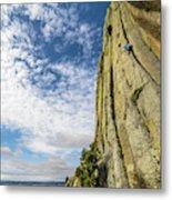 Man Rock Climbing At Devils Tower Metal Print