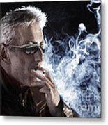 Man Smoking Cigarette Metal Print