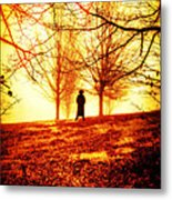 Man Standing In Front Of A Blazing Forest Fire Metal Print