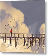 Man Standing On Old Bridge In Metal Print