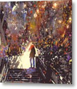 Man Standing On The Top Of Stair In The Metal Print