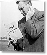 Man Studying A Golf Book Metal Print