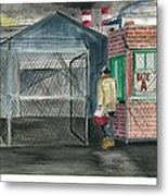Man Takes His Lunch Walks Out In The Morning Light Metal Print