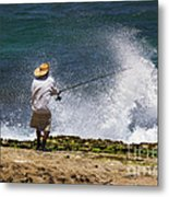 Man Versus The Sea Metal Print
