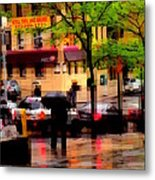 Reflections - New York City In The Rain Metal Print