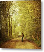 Man Walking  On A Lonely Country Road Metal Print