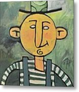 Man With Fancy Hat And Suspenders Metal Print