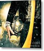 Man With Gas Mask. New Beginning. Skys The Limit Metal Print