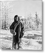 Man With Parka And Snowshoes Metal Print