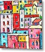 Manarola Colorful Houses Painting Detail Metal Print
