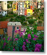 Manarola Flowers And Houses Metal Print