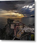 Manarola Sunset Storm Metal Print