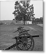 Manassas Battlefield Cannon And House Metal Print