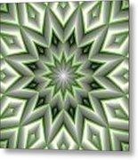 Mandala 107 Green Metal Print