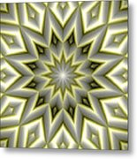 Mandala 107 Yellow Metal Print