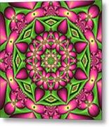 Mandala Green And Pink Metal Print