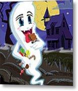 Manga Sweet Ghost At Halloween Metal Print by Martin Davey
