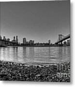 Manhattan And Brooklyn Bridge Fisheye Bw Metal Print